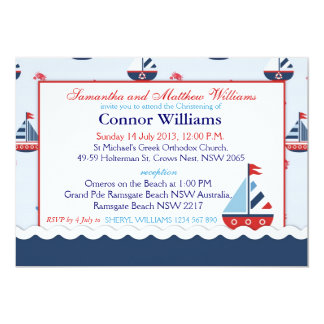Sailboats, Anchors, and Crabs Nautical Baptism Card