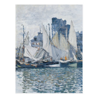 Sailboats and Le Havre Museum in Blue Postcard