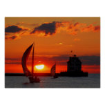 Sailboats at sunset print