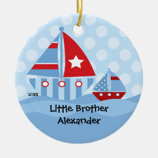 Sailboats Big & Little Brother Christmas Ornament