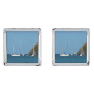 Sailboats in the Bay White and Blue Nautical Silver Finish Cufflinks
