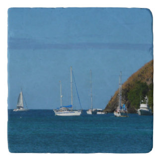 Sailboats in the Bay White and Blue Nautical Trivet