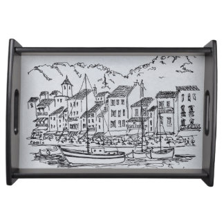 Sailboats in the Harbor   Cassis, France Serving Tray
