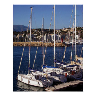 Sailboats in the port of Altea Poster