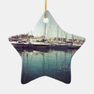Sailboats in Water Ceramic Star Decoration