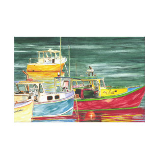 Sailboats in watercolor canvas print