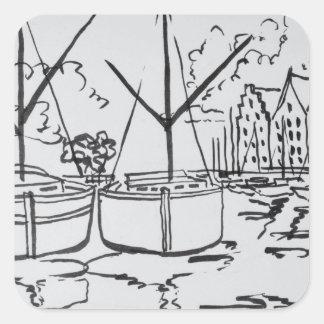 Sailboats | La Vilaine River, Redon, Brittany Square Sticker