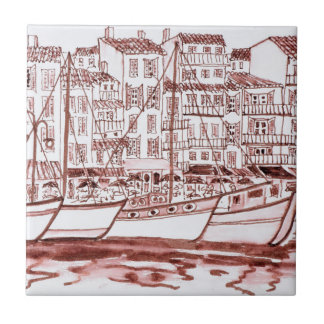 Sailboats Moored in the Harbor | Cassis, France Tile