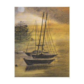 Sailboats Moored on Canvas