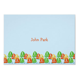 Sailboats Personalised Thank You Notes 9 Cm X 13 Cm Invitation Card