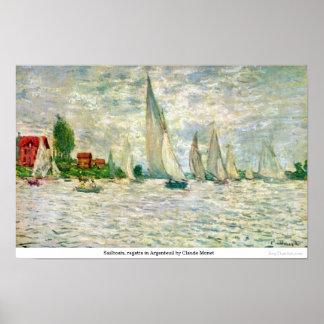 Sailboats regatta in Argenteuil by Claude Monet Poster