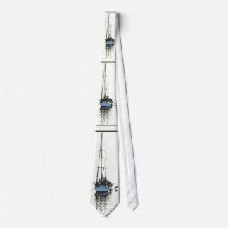 Sailboats Sketch Art Tie