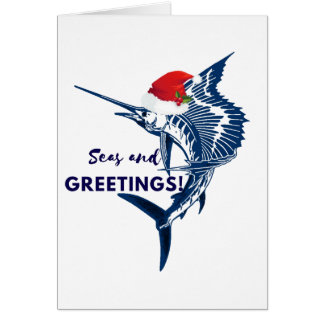 Sailfish Christmas Seas and Greetings Card