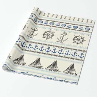 Sailing Anchor Nautical Rope Knot Wrapping Paper