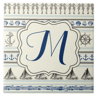 Sailing Anchor Nautical Rope Monogram Display Tile