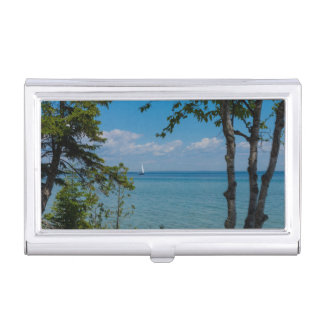 Sailing At Mackinac Business Card Holder