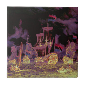 Sailing at Night on the Ocean Small Square Tile