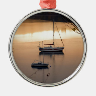 Sailing at Twilight Silver-Colored Round Decoration