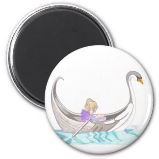 Sailing away 6 cm round magnet