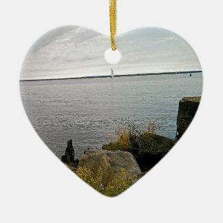 sailing away ceramic heart decoration