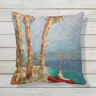 Sailing Beach Custom Outdoor Throw Pillow