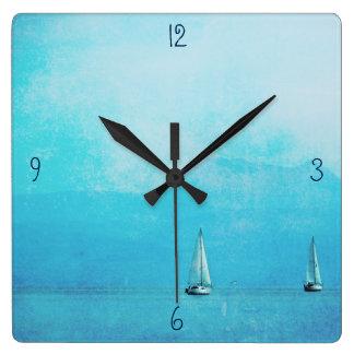 sailing blue square wall clock
