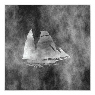 sailing boat 13 cm x 13 cm square invitation card