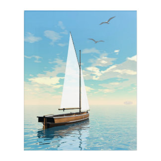 Sailing boat - 3D render Acrylic Wall Art