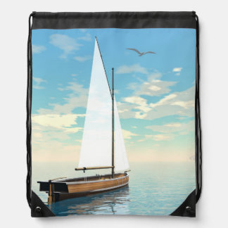 Sailing boat - 3D render Drawstring Bag