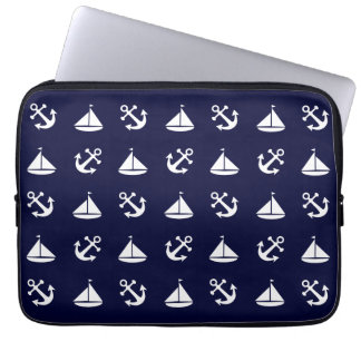 Sailing boat and anchor pattern laptop sleeve