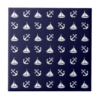 Sailing boat and anchor pattern tile