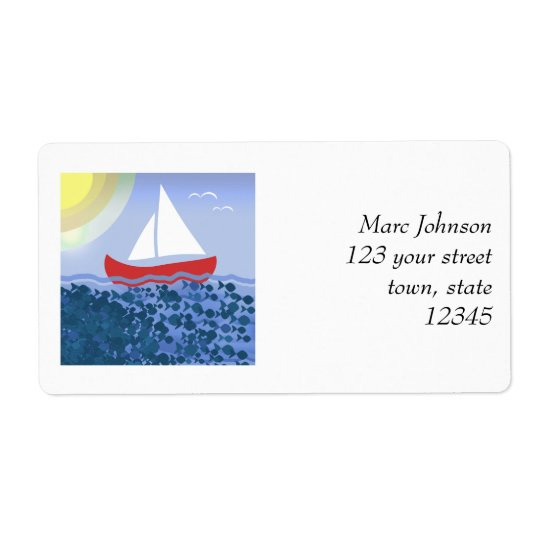 Sailing Boat Blue Sea Summer Bright Cartoon Cute