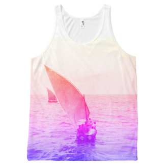 Sailing Boat Colourful Vintage Photo Beachwear All-Over Print Singlet