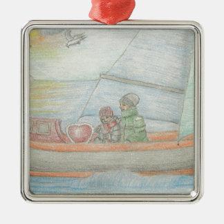 Sailing boat christmas ornament