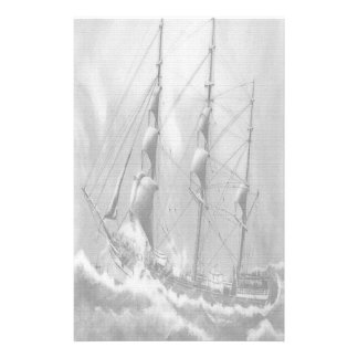 Sailing boat in black and white on high seas stationery paper