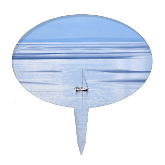 Sailing boat on sea, Nautical, blue water sky Cake Topper
