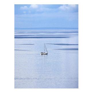 Sailing boat on sea, Nautical, blue water sky Postcard