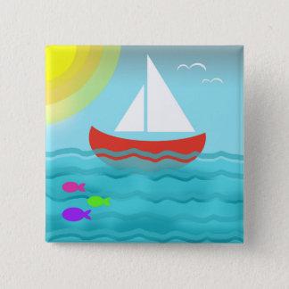 Sailing Boat Red Summer Sea Blue Sunshine Cartoon 15 Cm Square Badge