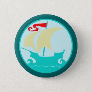 Sailing boat sailing ship 6 cm round badge