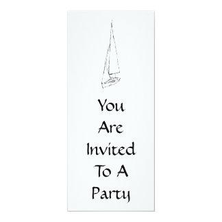 Sailing boat. Sketch in Black and White. 10 Cm X 24 Cm Invitation Card
