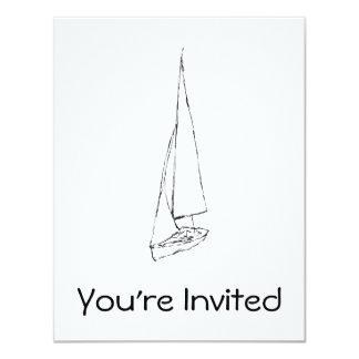 Sailing boat. Sketch in Black and White. 11 Cm X 14 Cm Invitation Card