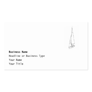 Sailing boat. Sketch in Black and White. Business Card