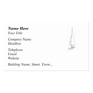 Sailing boat. Sketch in Black and White. Business Card Templates