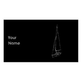 Sailing boat. Sketch in Black and White. Business Card Template