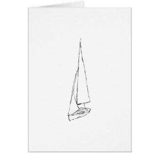 Sailing boat. Sketch in Black and White. Note Card