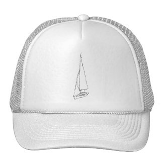 Sailing boat. Sketch in Black and White. Mesh Hats