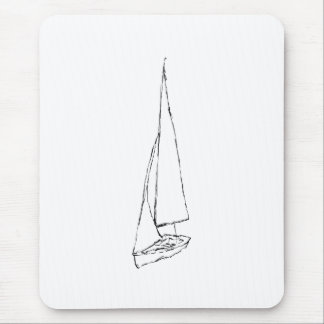 Sailing boat. Sketch in Black and White. Mouse Pad