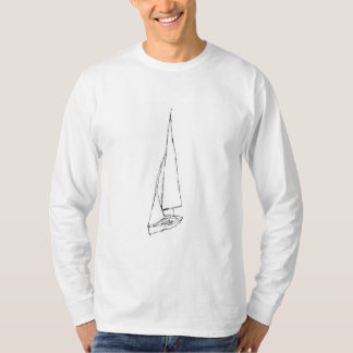 Sailing boat. Sketch in Black and White. Tshirts