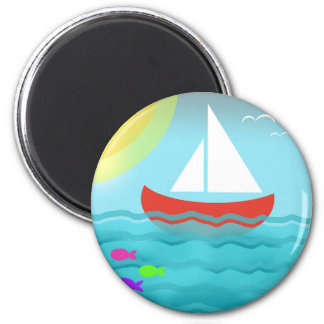 Sailing Boat Summer Sea Cartoon 6 Cm Round Magnet