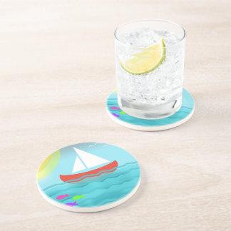 Sailing Boat Summer Sea Cartoon Coaster